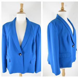 Kasper Plus Size Blue Blazer Suit Jacket Career